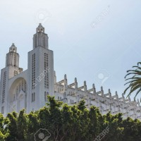 56406521-the-outside-of-casablanca-cathedral-with-tree-in-casablanca-morocco