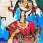 60 cm + 70 cm . acrylic on hard paper ( Girl and Chicken)